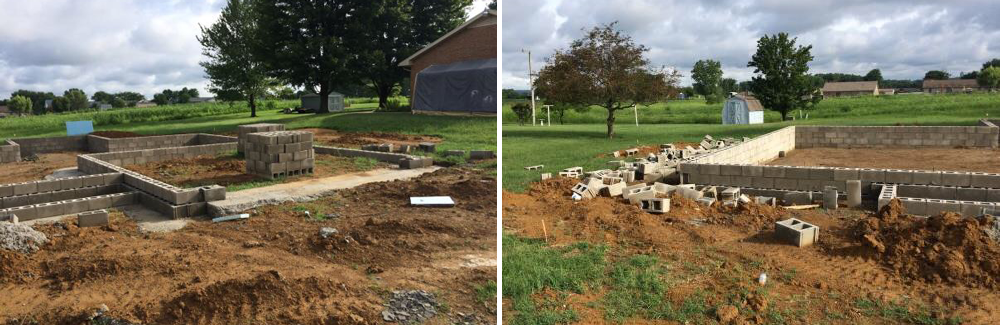 Pictured: The same home, with a slab foundation, after the footers have been poured and block laid. At this stage, it is ready for the plumbing to be ran, full rock added and then the concrete poured.
